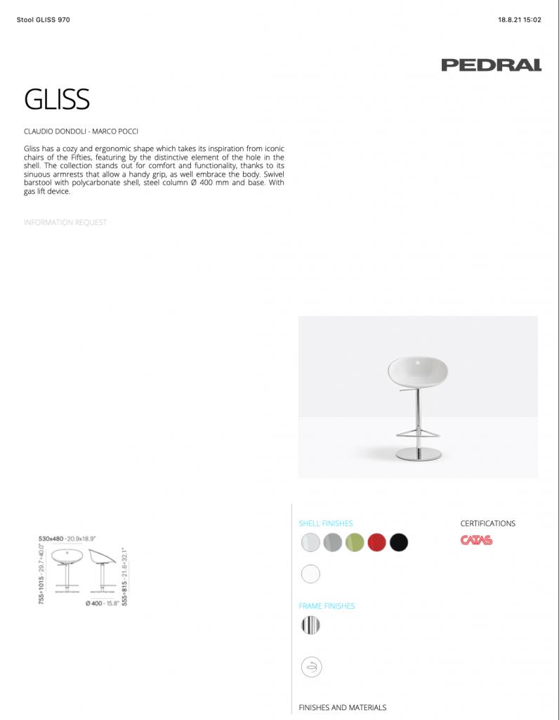 Stolička GLISS 970 Pedrali