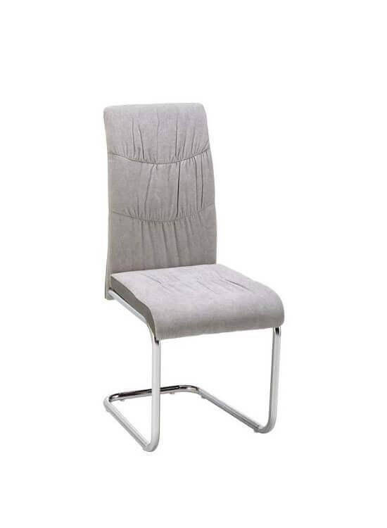 Stolička - svetlo sivá   chrom   textil
